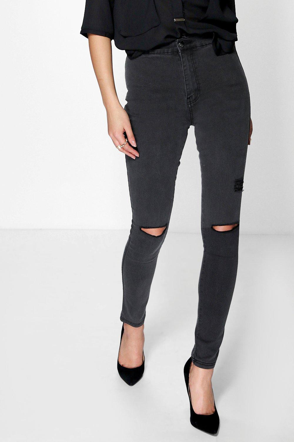 High Waisted Tube Jeans With Rips charcoal