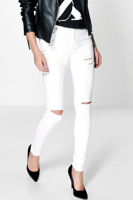 Heather High Waisted Ripped Skinny Jeans