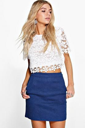 Celeste Embossed Denim Skirt
