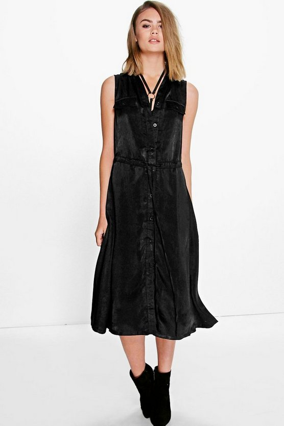 Lilith Tie Waist Midi Shift Dress