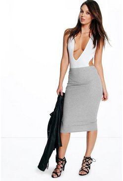 Rhea Ribbed Midi Skirt