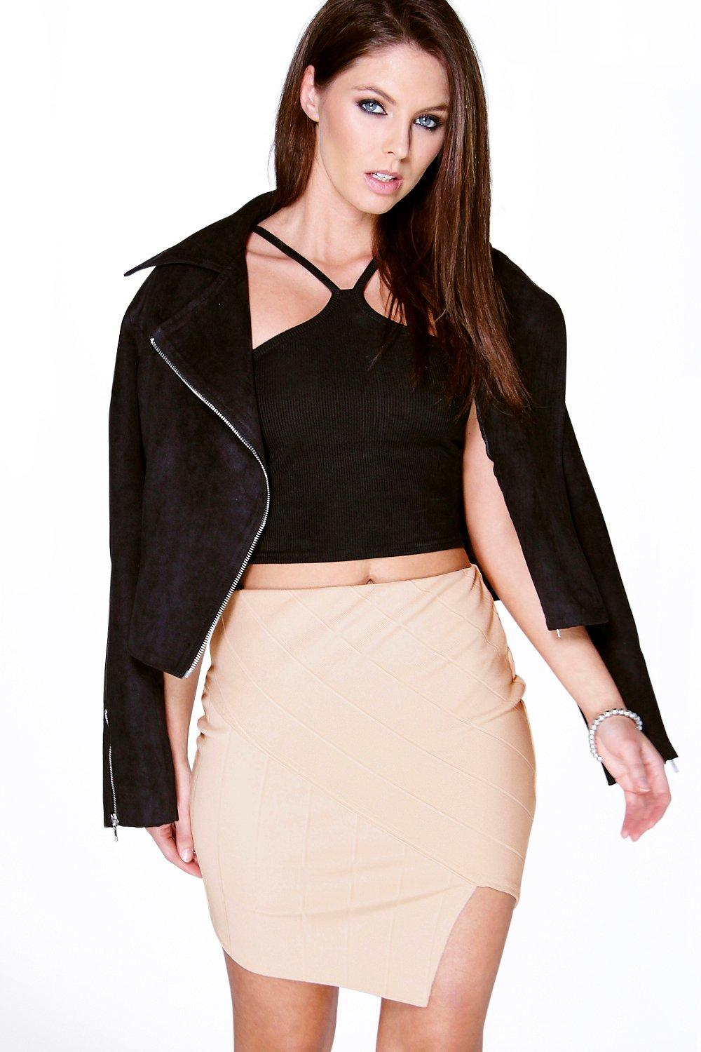 Amelle Bandage Asymetric Hem Mini Skirt