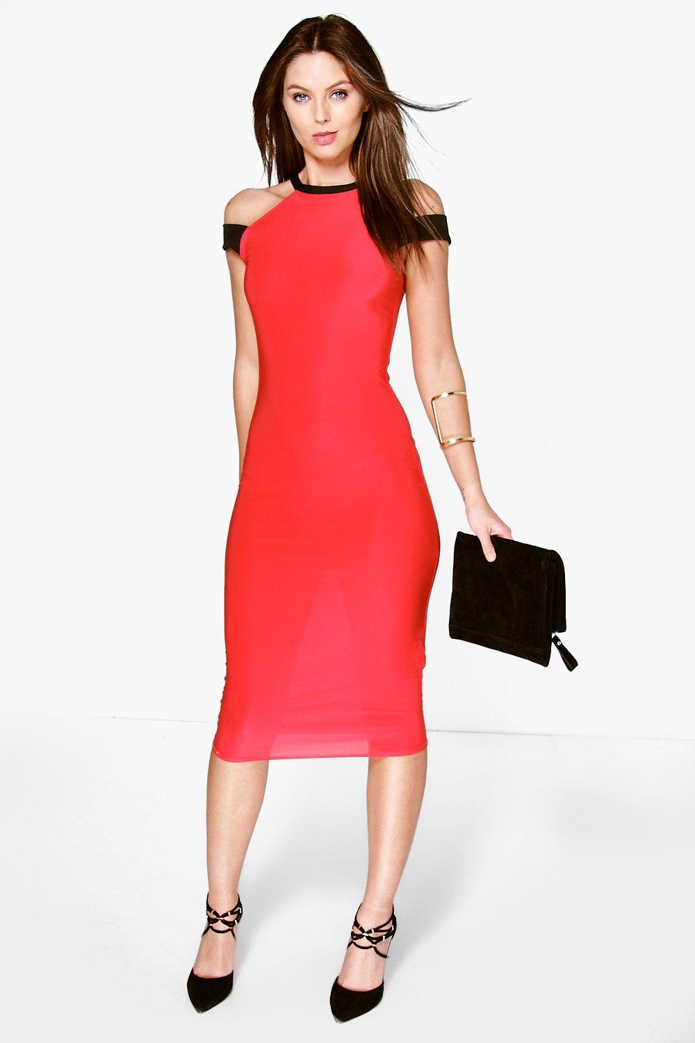 Lostrita Double Strap Contrast Midi Dress