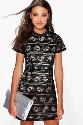 Boutique Ara Lace Bound Neck Bodycon Dress
