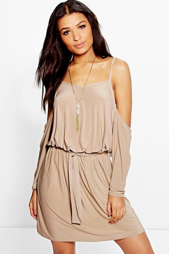 Mara Cold Shoulder Blouson Tie Waist Mini Dress