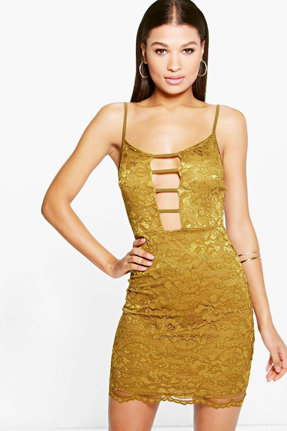 Isara Lace Plunge Strap Detail Bodycon Dress