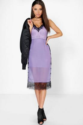 Boutique Lia Eyelash Lace + Chiffon Midi Dress