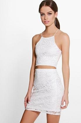 Adinne Lace Crop & Mini Skirt Co-Ord Set