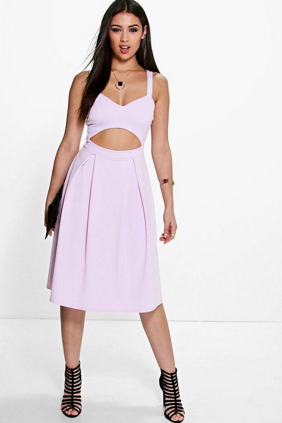 Lori Cut Out Frill Midi Skater Dress