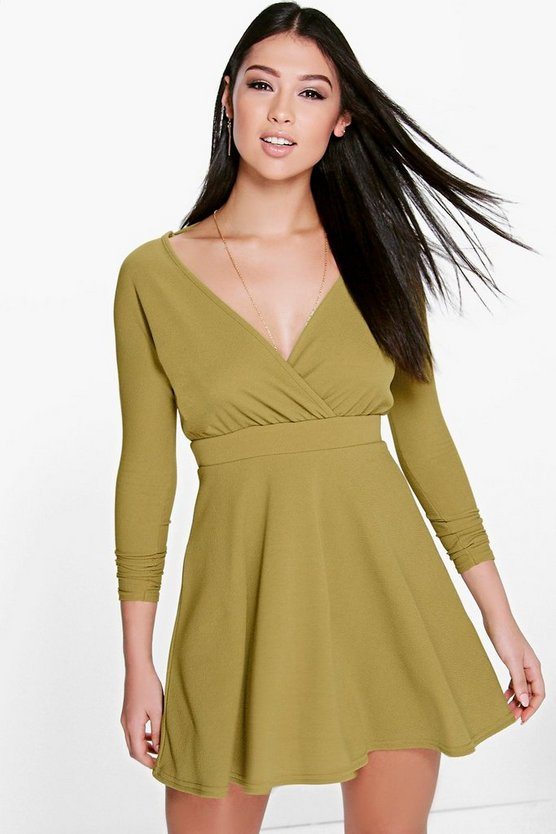 Eva Long Sleeve Wrap Front Skater Dress