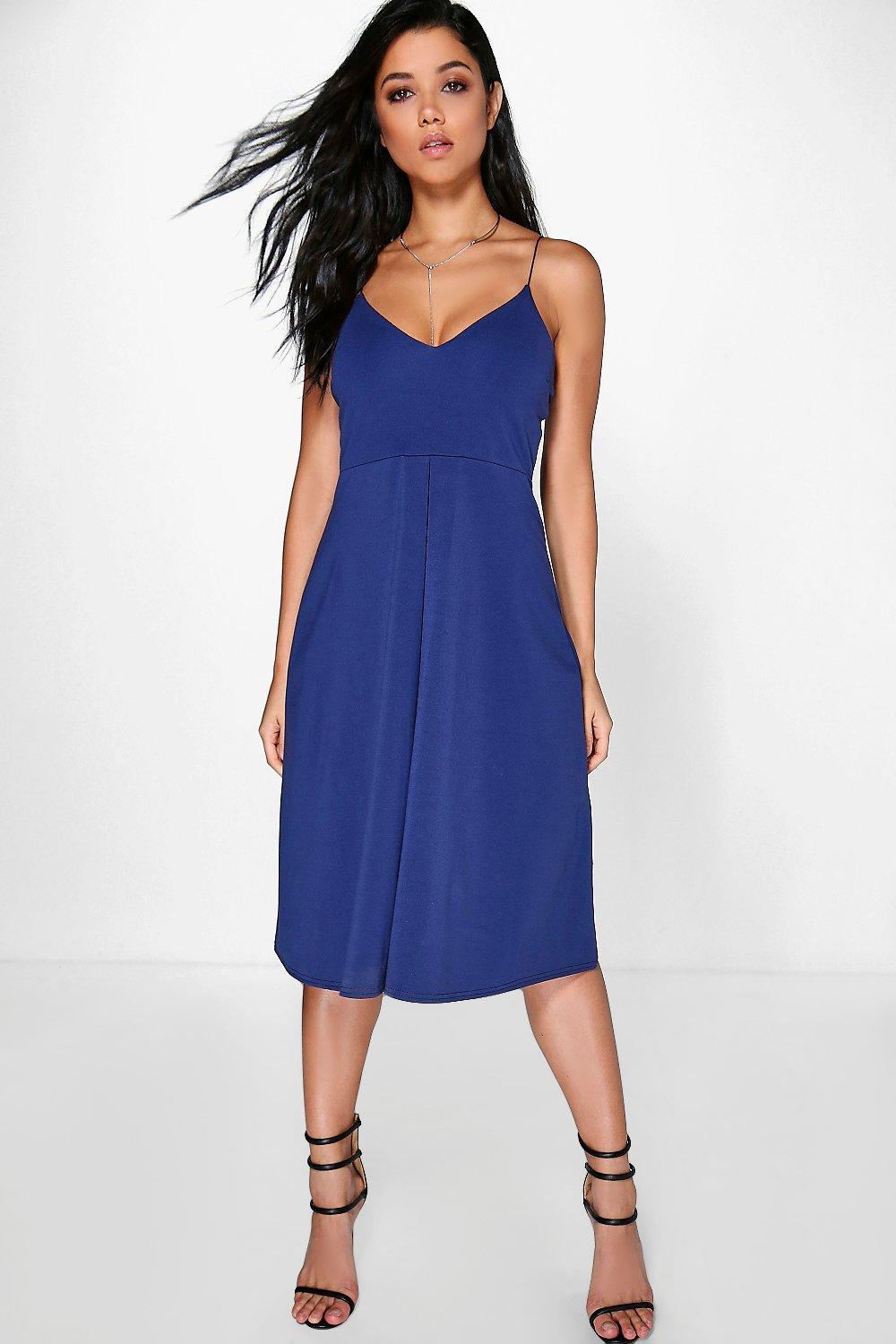 Adisa Pleat Front Strappy Midi Dress