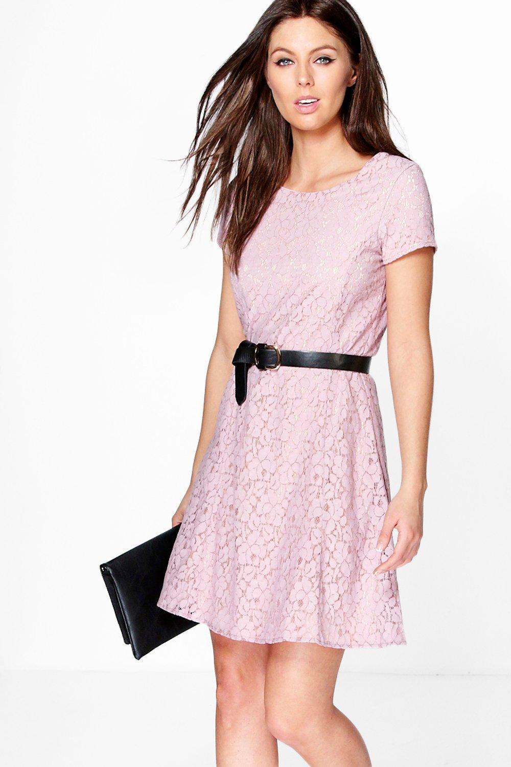 Sara Seam Lace Skater Dress