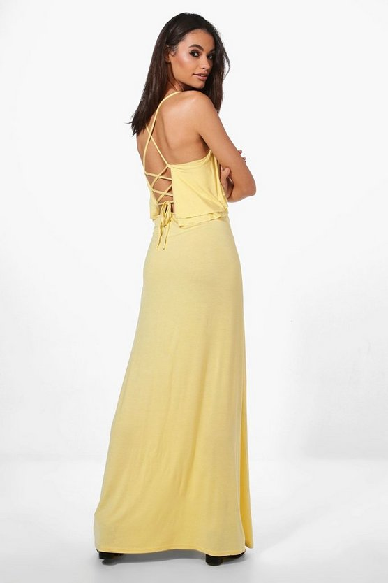 Ruffle Lace Up Back Maxi Dress