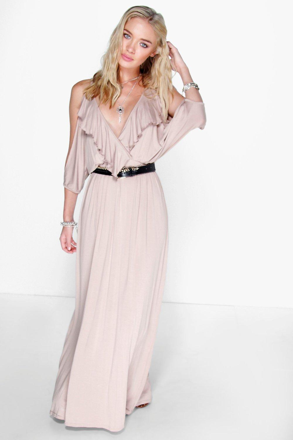 Ella Front Ruffle Cold Sleeve Maxi Dress
