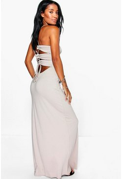 Daria Back Lace Up Tie Maxi Dress