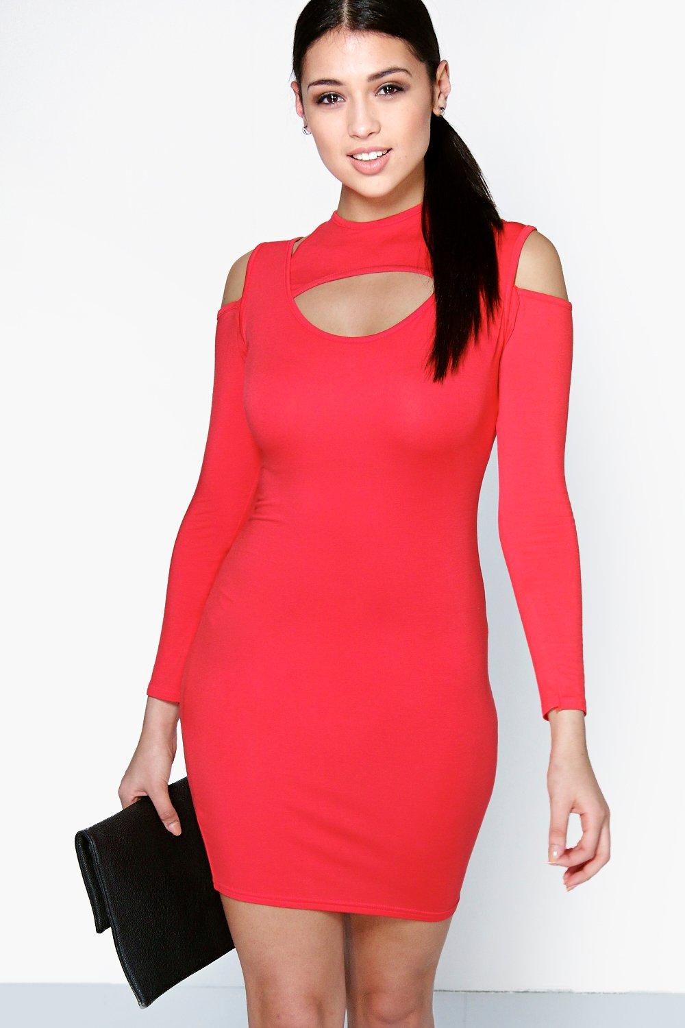 Daisy Cut Out Long Sleeve Mini Bodycon Dress