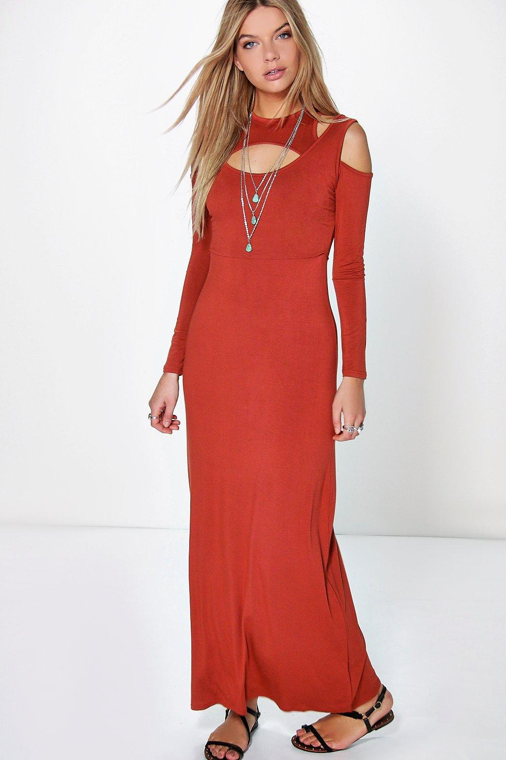 Samantha Cut Out Long Sleeve Maxi Dress