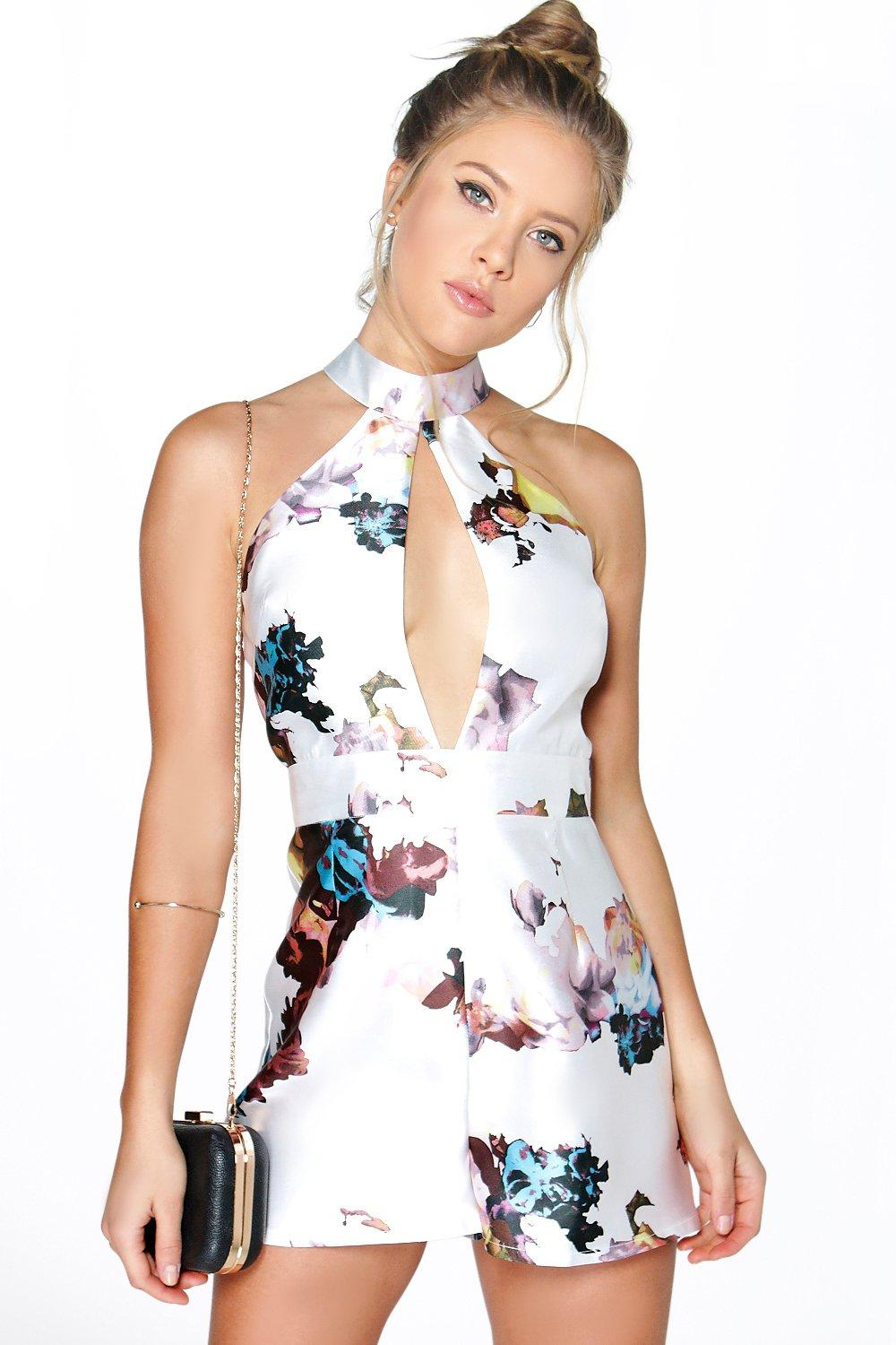Boutique Ava Halter Neck Large Floral Playsuit