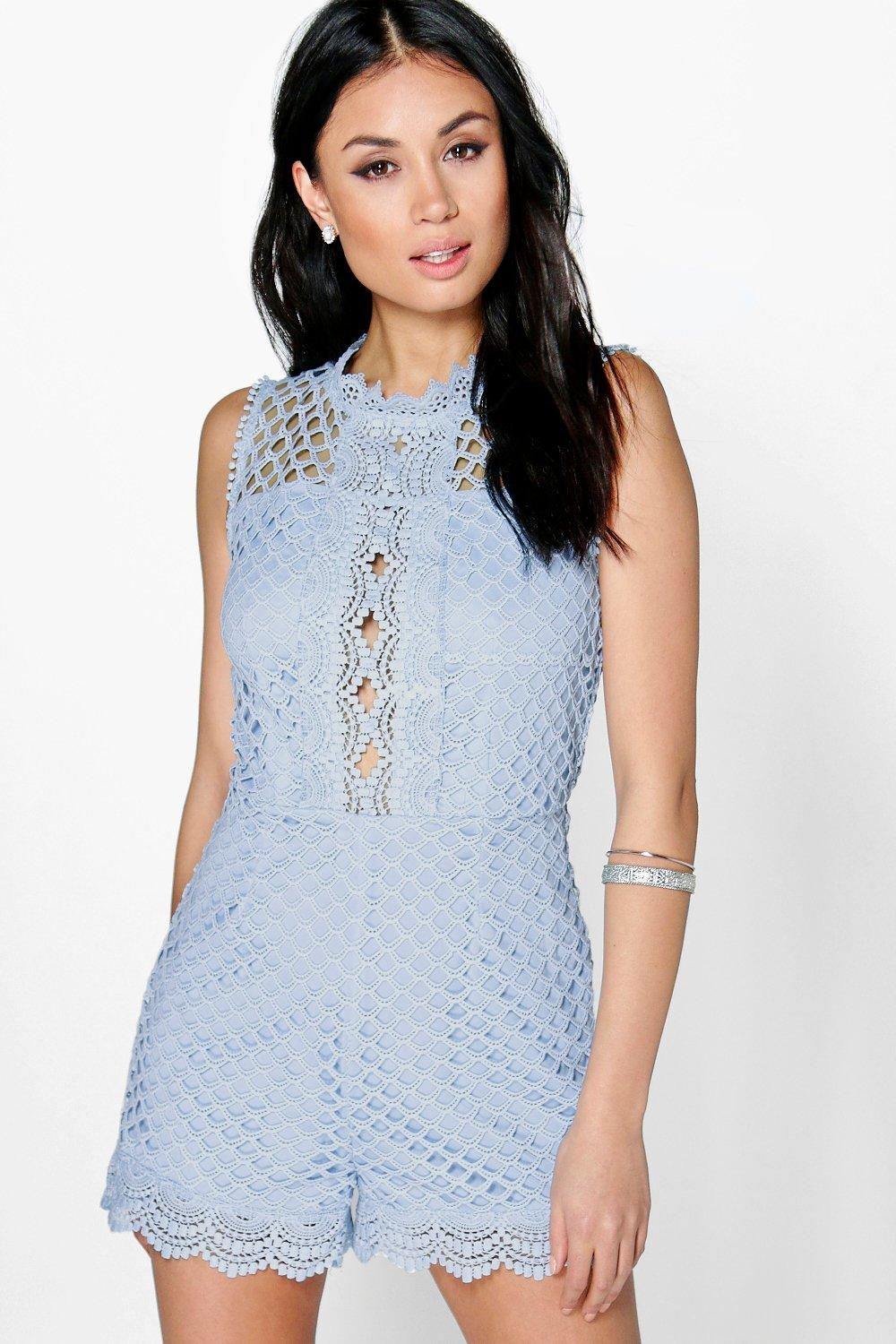 Alice High Neck Crochet Playsuit blue