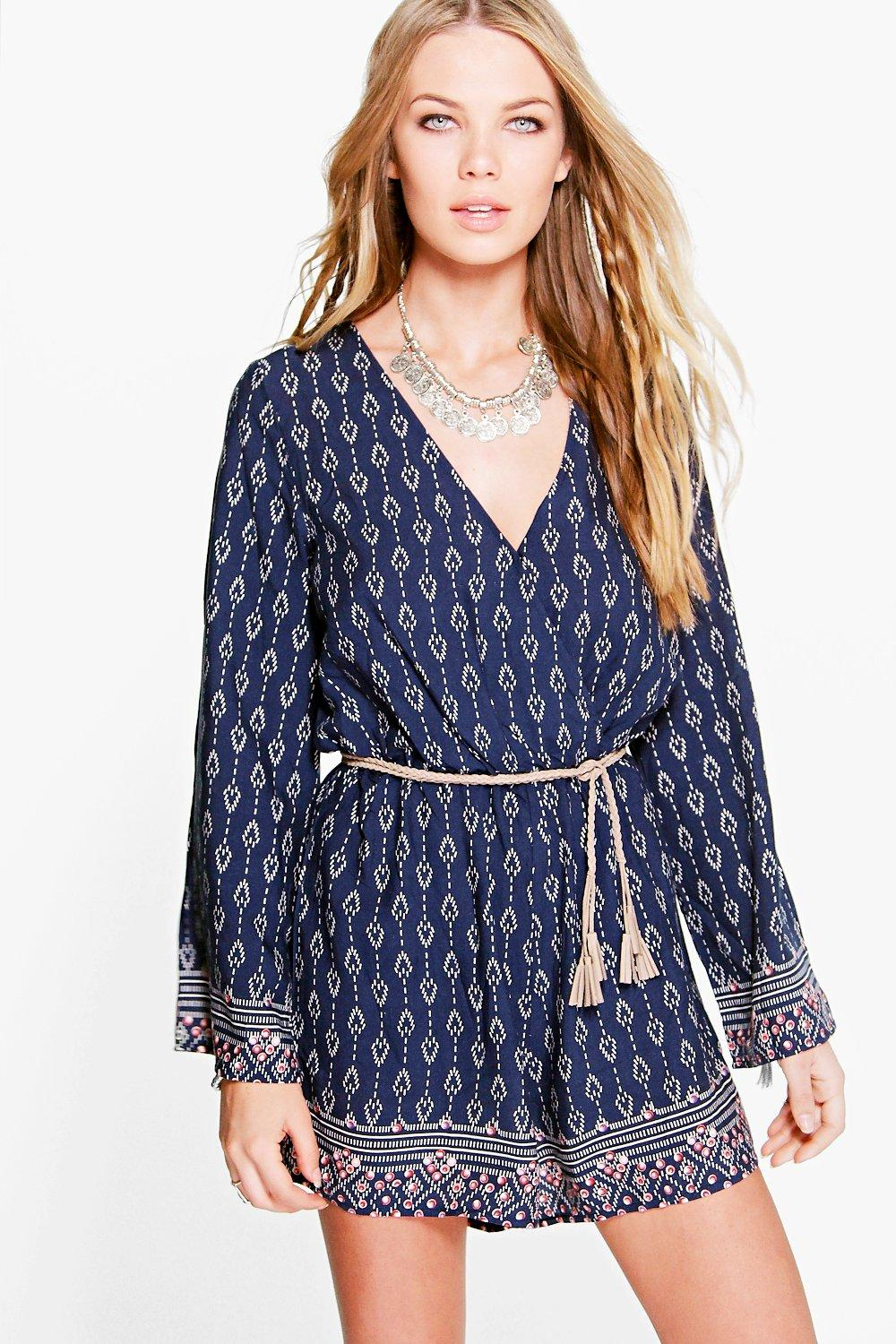 Mia Border Print Flare Sleeve Playsuit