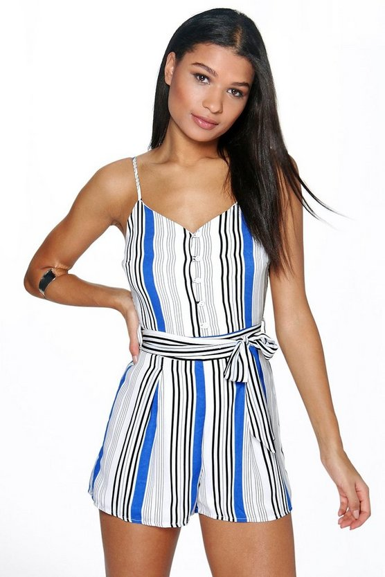 Belted Striped Cami Playsuit