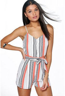 Bella Belted Striped Cami Playsuit