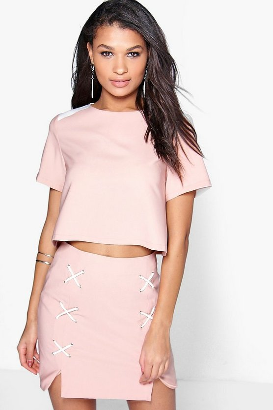 Boutique Julia Lace Up Mini Skirt