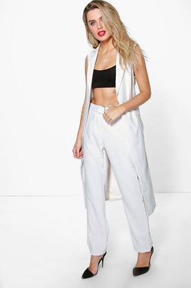 Boutique Wendy Textured Belted Tailored Trouser