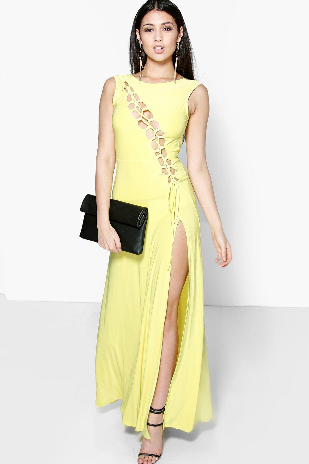 Caroline Slinky Asymmetric Lace Up Maxi Dress at boohoo.com
