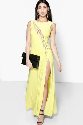 Caroline Slinky Asymmetric Lace Up Maxi Dress