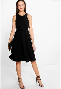 Lydia Double Layer Scallop Midi Skater Dress
