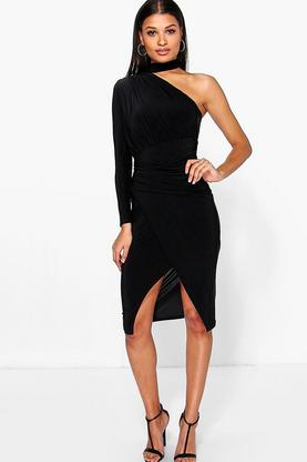 Melanie One Sleeve Ruched Midi Bodycon Dress