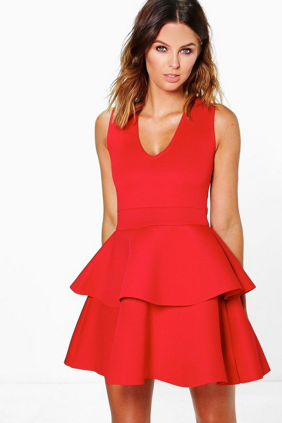 Jennifer Plunge Neck Peplum Skater Dress