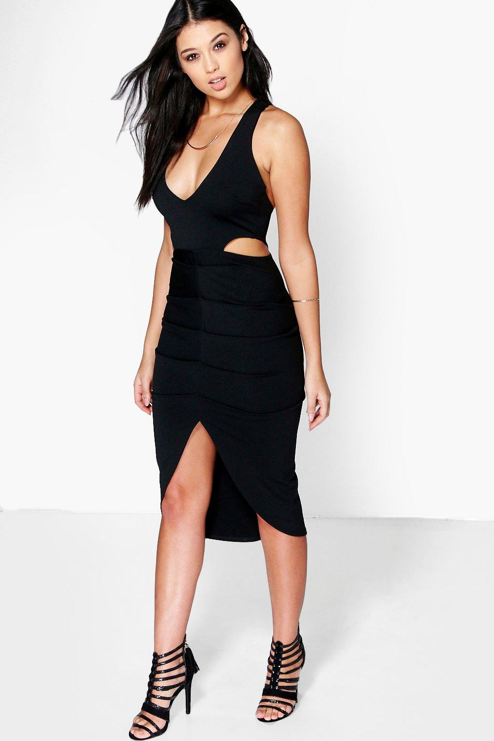 Ruched Front Detail Cut Out Midaxi Dress - black
