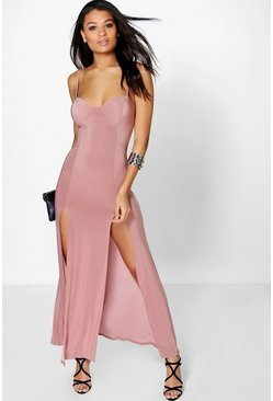 Katie Slinky Bodice Split Maxi Dress