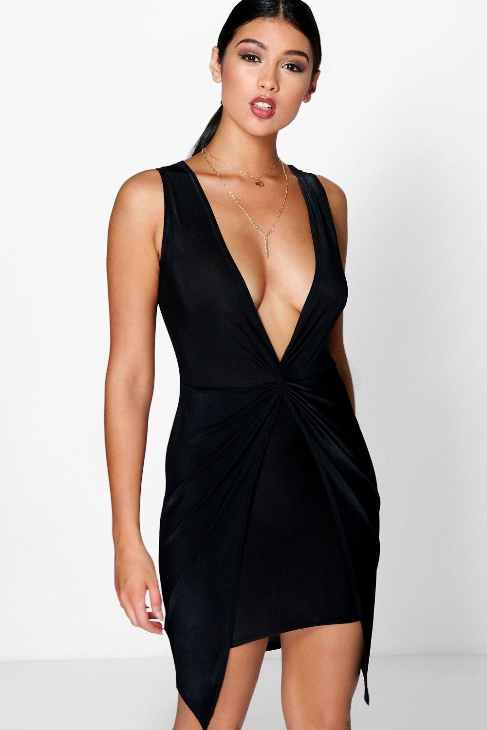 Plunge Neck Drape Detail Dress black