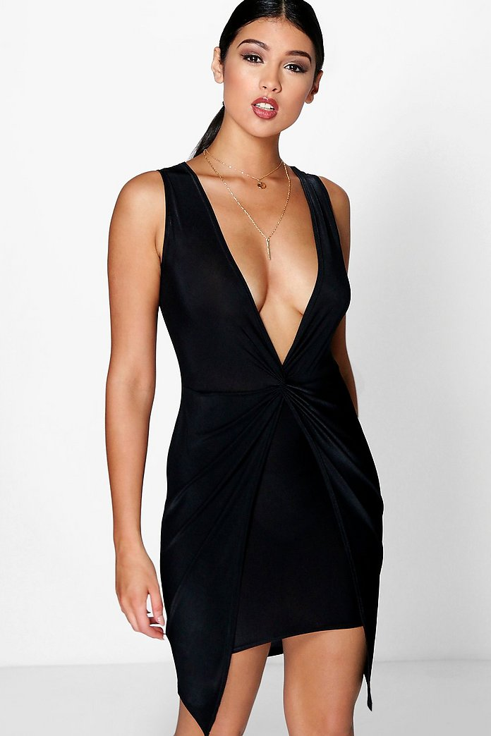 Belle Plunge Neck Drape Detail Dress