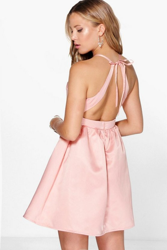 Sirenne Sateen Open Back Detail Prom Dress