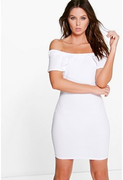 Briggie Frill Sleeve Off The Shoulder Bodycon Dress