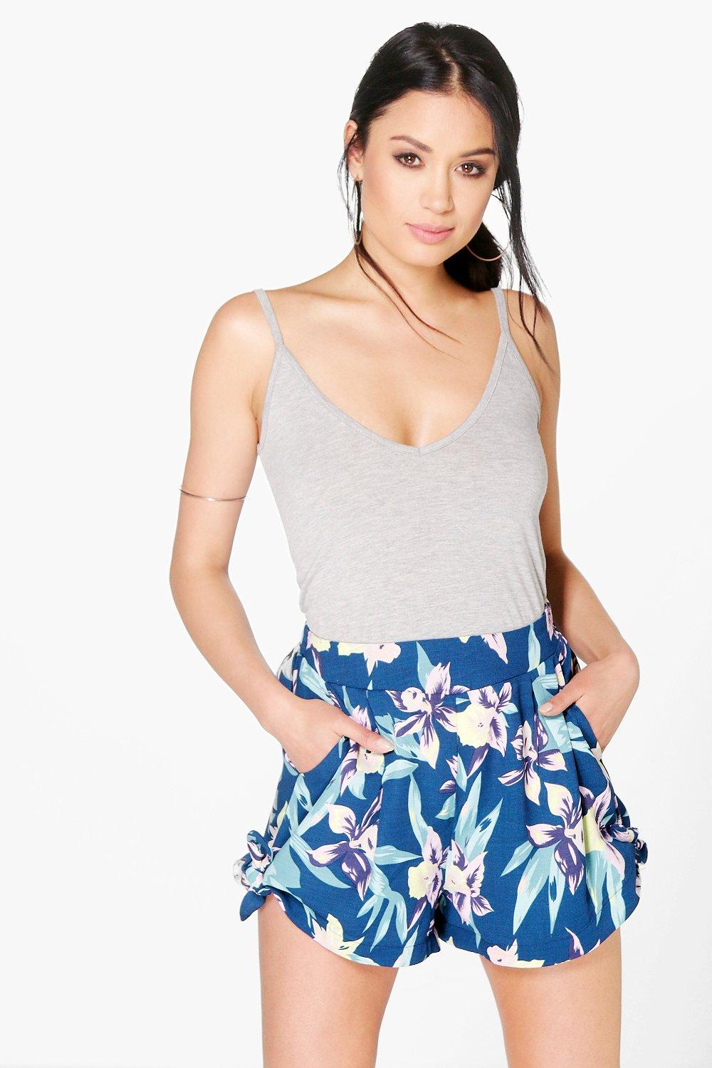 Tropical Floral Tie Side Shorts - navy