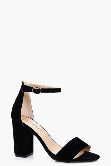 Black Two Part Block Heels