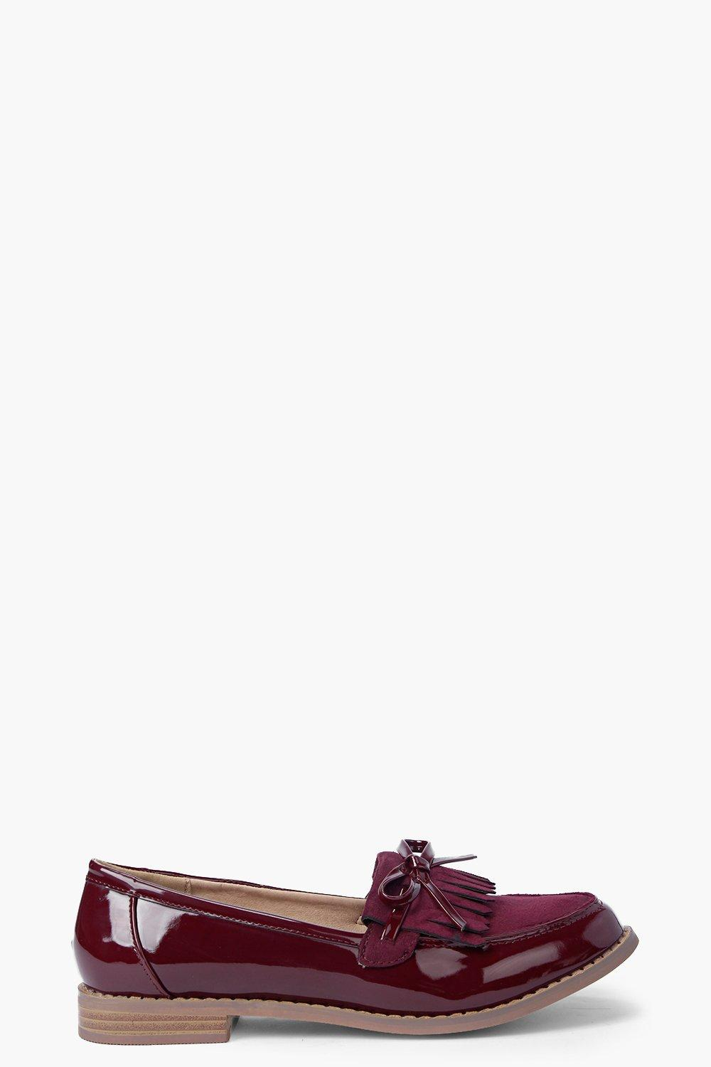 Evie Contrast Patent and Suedette Bow Trim Loafer