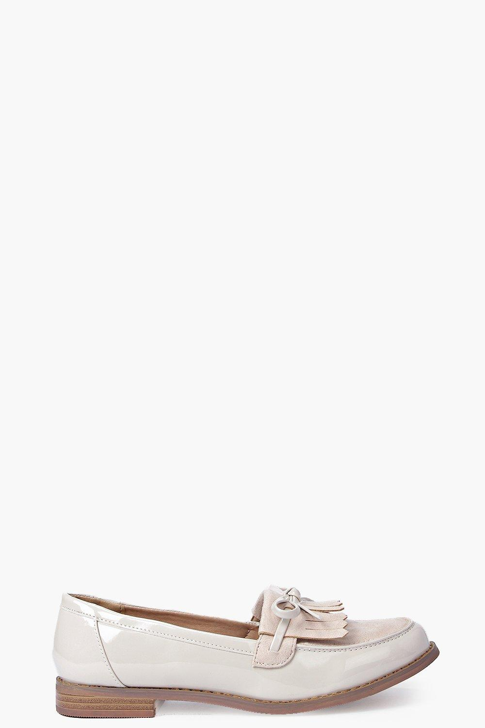 Erin Contrast Patent And Suedette Bow Trim Loafer