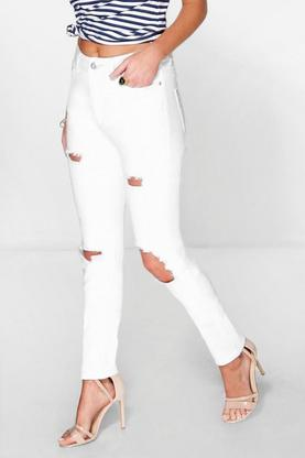 Jenni High Waist Busted Knee & Thigh Skinny Jeans