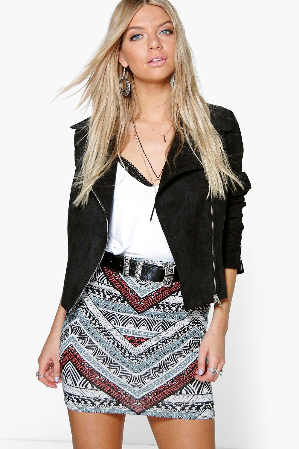 Sofia Tonal Tribal Print Mini Skirt