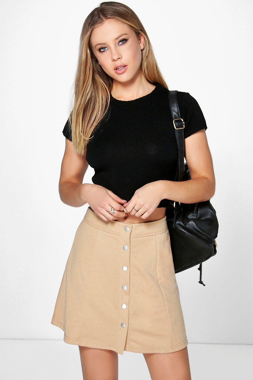 Amarah Popper Front Panelled A Line Mini Skirt