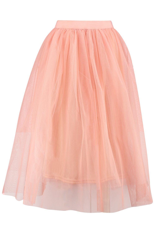 boohoo womens boutique aya tulle midi skirt in blush