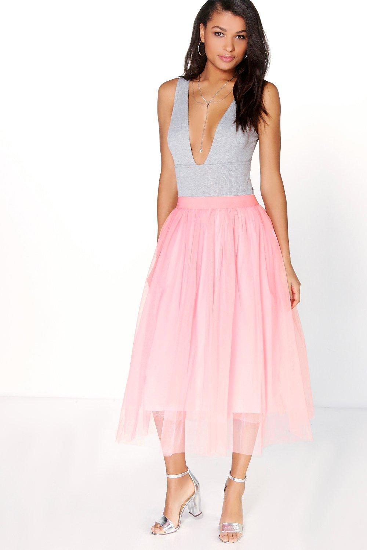 Aya Tulle Full Midi Skirt pink