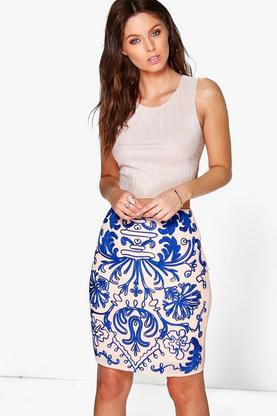 Boutique Summer Embroidered Midi Skirt