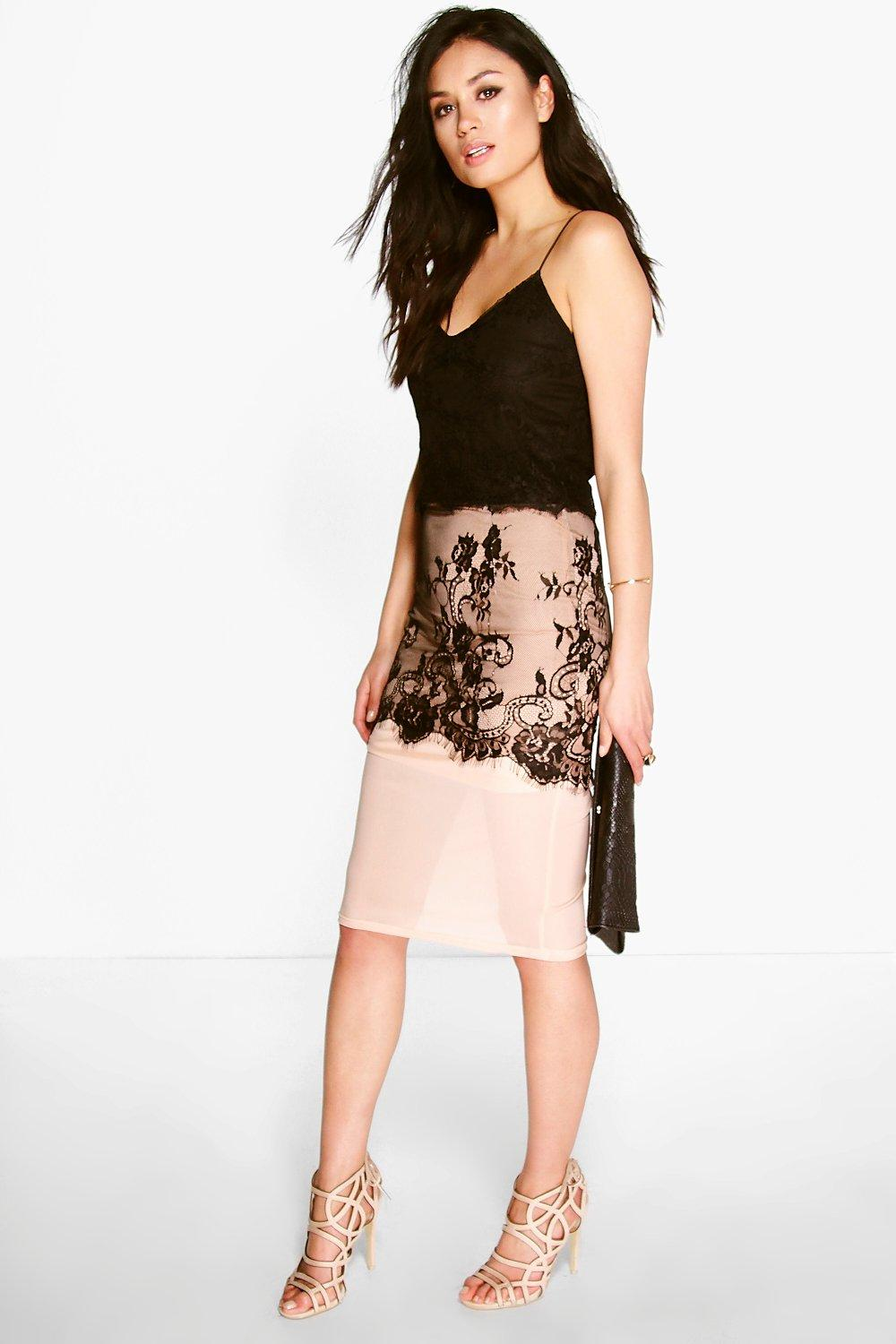 Boutique Mimi Eyelash Lace Midi Skirt